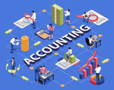 Accounting isometric flowchart with analyzing financial documents transactions with calculator laptop magnifier pile coins banknotes vector illustration