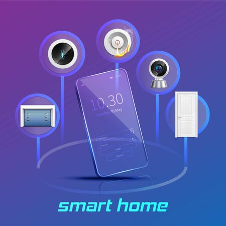 Smart home devices control and monitoring system using smartphone realistic composition violet blue gradient background vector illustration