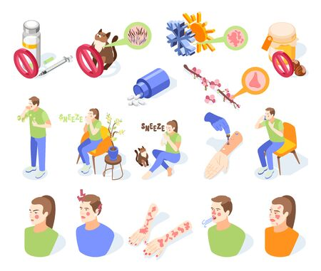 Allergy symptoms icons set with allergens symbols isometric isolated vector illustration