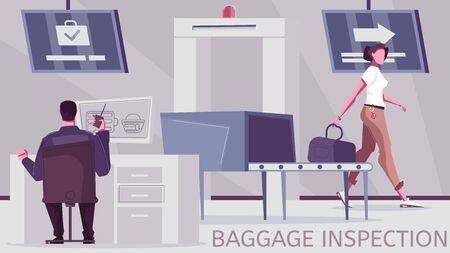 Baggage check flat composition with editable text and border inspection post with equipment for luggage screening vector illustration