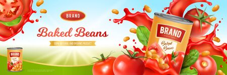 Tin of tasty baked beans on background with tomato sauce and green leaves realistic vector illustration