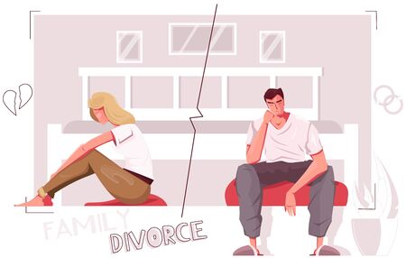 Divorce people flat composition with indoor scenery and characters of divorced couple with broken heart icons vector illustration