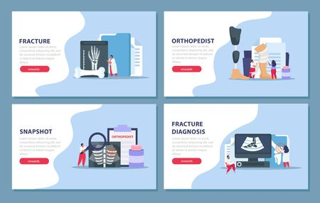 Orthopedist concept icons set with fracture diagnosis symbols flat isolated vector illustration