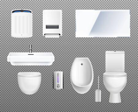 Public toilet interior elements transparent icon set with hand dryer toilet washbasin mirror soap plunger urinal vector illustration