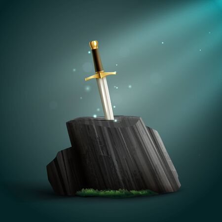Sharp shiny dazzling steel sword with a golden handle thrust into petrified wood background realistic vector illustration  Çizim