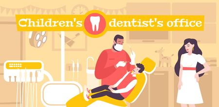 Children dentistry flat composition with text and indoor dental clinics office scenery with kid and dentist vector illustration