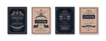 Retro vintage design poster set of four isolated vertical backgrounds with ornate frames and editable text vector illustration