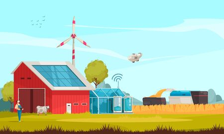 Smart farm composition with outdoor view of farmstead solar batteries turbines and machinery with remote control vector illustration Illustration