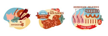 Sausage compositions set with flat images of delicious food meat products with badges and text captions vector illustration Ilustração