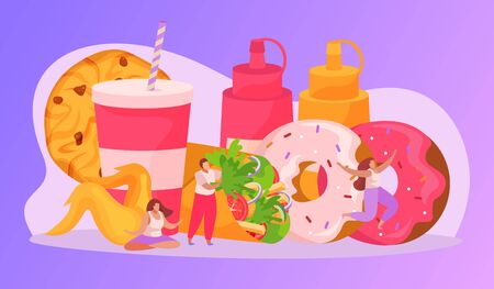 Flat fast food composition with people characters donuts cookie drink sauce vector illustration