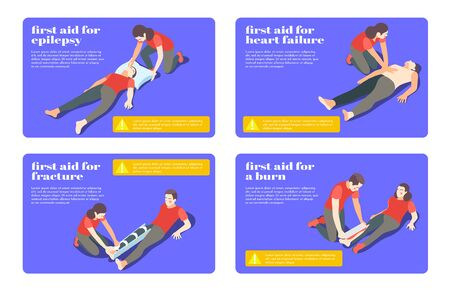 First aid treatment steps for epilepsy fracture burn heart failure 4 isometric flashcards banners vector illustration