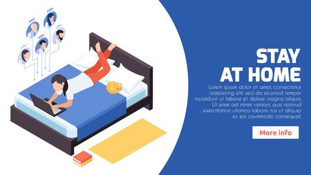 Stay home distant work isometric web banner with woman in bed managing remotely corporate network vector illustration  Vectores
