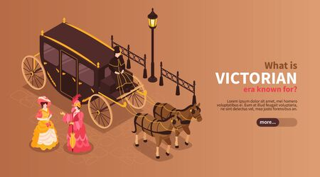 Victorian era horizontal banner with women dressed in 19th century clothes and carriage pulled by two horses isometric vector illustration Illustration