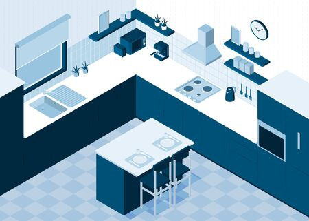 Isometric kitchen horizontal composition with monochrome view of room interior with cooking appliances and dining table vector illustration