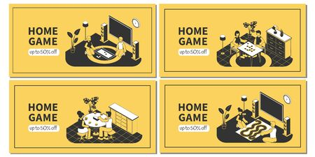 Isometric horizontal banners set with family playing board games at home 3d isolated vector illustration