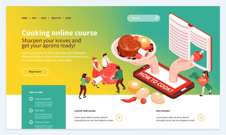 Skill building online cooking school isometric web landing page design with appetizing dish ingredients recipe vector illustration