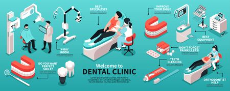 Isometric dantist infographics with dental clinic equipment images of doctors with patients and editable text captions vector illustration Archivio Fotografico - 149744037