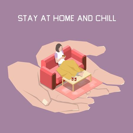 Stay at home and chill concept with indoor lifestyle symbols isometric