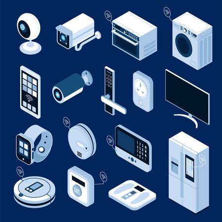 Isometric icons set with smart home appliances and gadgets isolated on blue background 3d vector illustration 向量圖像