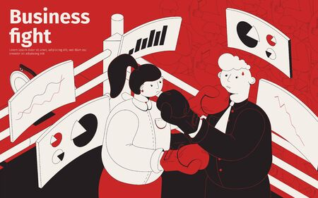 Business fight isometric poster with male and female characters in boxing gloves fighting each other in ring vector illustration