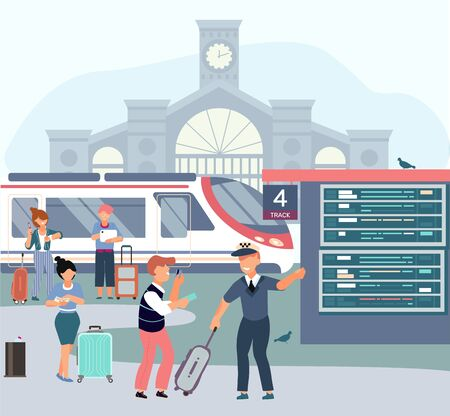 Railway station flat composition with building background platform with train passengers and information board electronic table vector illustration