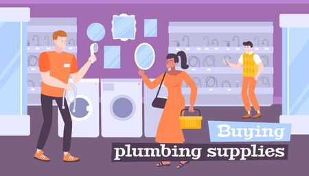 Plumbing sale flat composition with indoor scenery of sanitaryware shop with people and bathroom fixture goods vector illustration