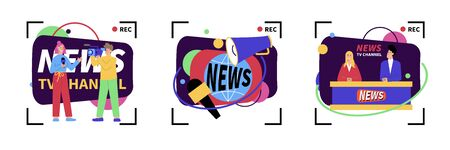 Set of three isolated news compositions with camcorder record signs and cartoon style characters of newscasters vector illustration