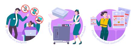 People in air flight flat compositions with stewardess delivering lunch in trolley for food and giving instructions to passengers isolated vector illustration  向量圖像