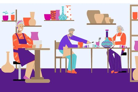 Ceramics hobby flat composition with indoor scenery of pottery workshop with images of stoneware and people vector illustration
