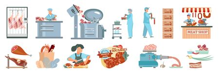 Sausages set with flat icons of raw meat shop market stalls kitchen equipment and ready products vector illustration