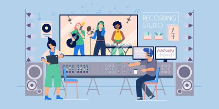Recording studio flat composition with indoor view of music record label with sound engineer and band vector illustration