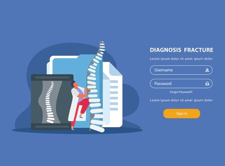 Orthopedics website with fracture diagnosis and treatment symbols flat vector illustration