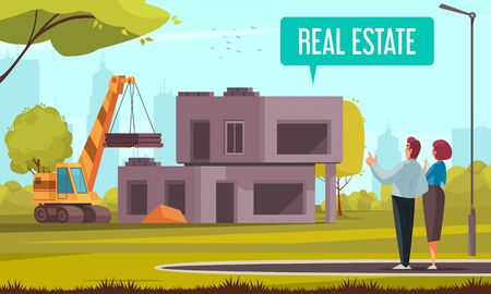 Home construction mortgage credit family composition with outdoor scenery and view of construction site with couple vector illustration