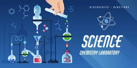 Flat horizontal poster with laboratory equipment for tests on blue background vector illustration Illustration