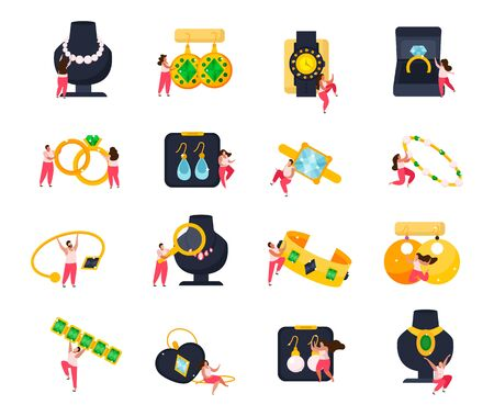 Jewelry flat icons set of doodle human characters with luxury and valuable items on blank background vector illustration