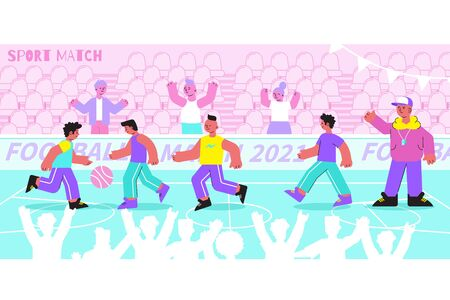 School sport flat composition with football soccer match game in college stadium with pupils fans vector illustration