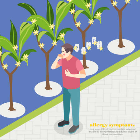 Allergy symptoms background with spring flowering symbols isometric vector illustration