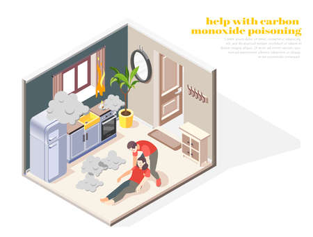 First aid for carbon monoxide poisoning isometric composition with husband treating fainted wife in kitchen vector illustration Ilustración de vector