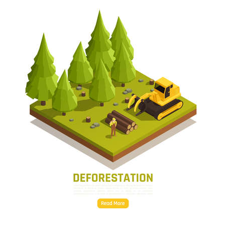 Natural resources timber conversion forest land to farms isometric composition with deforestation trees removal process vector illustration