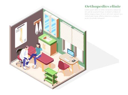 Orthopedics clinic concept with injury treatment symbols isometric vector illustration