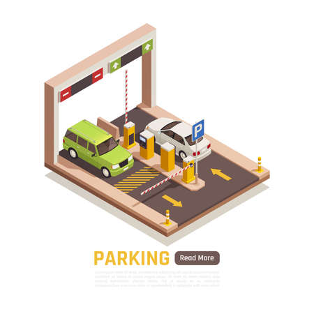 Parking garage entrance exit automatic sliding door ticket machine 2 cars isometric element web page vector illustration
