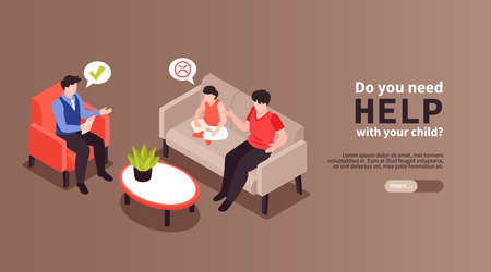 Isometric psychologist horizontal banner with editable text more button and characters of family meeting mind specialist vector illustration