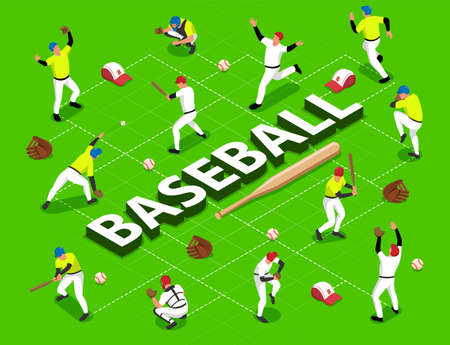 Isometric flowchart with baseball players and game equipment 3d vector illustration Vectores