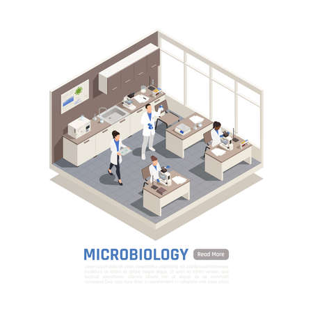 Isometric composition with people working with microscopes in science laboratory 3d vector illustration