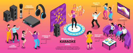 Isometric karaoke infographics with singing people characters holding microphones headphones and loudspeakers with editable text captions vector illustration Stock Illustratie