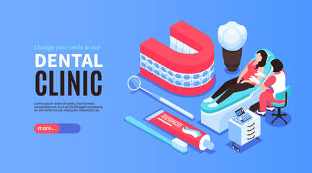 Isometric dantist horizontal banner with editable text more button and dentists equipment icons with human characters vector illustration 向量圖像