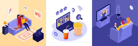 Online cinema design concept with video selection symbols isometric isolated vector illustration