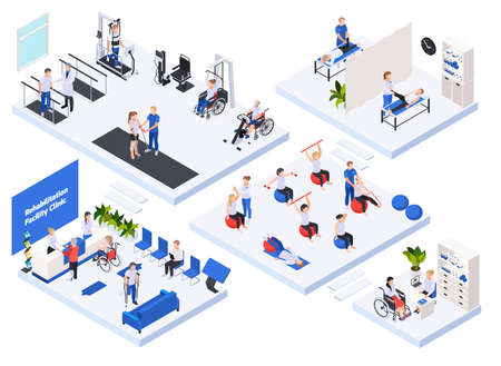 Rehabilitation physiotherapy clinic concept isometric layout with reception waiting room massage treatment exercise machines equipment  vector illustration