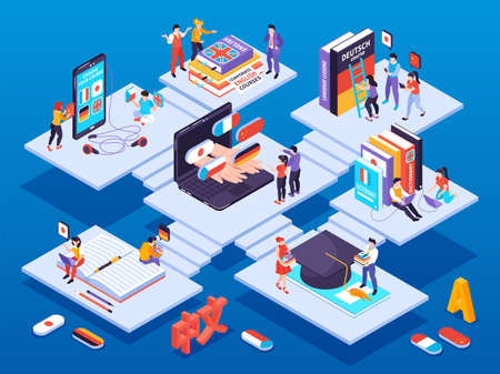 Language learning center isometric concept with corporate training online courses various intensity levels personal tutors vector illustration
