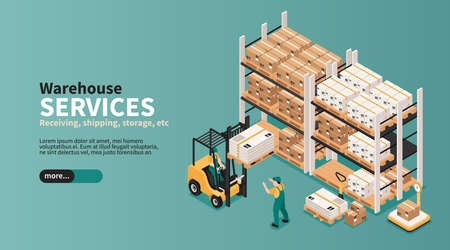 Warehouse industrial space storage pick pack orders shipping delivering logistic services isometric landing page banner vector illustration   イラスト・ベクター素材